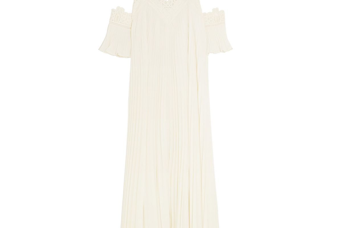 self portrait off the shoulder pleated guipure lace trimmed chiffon gown