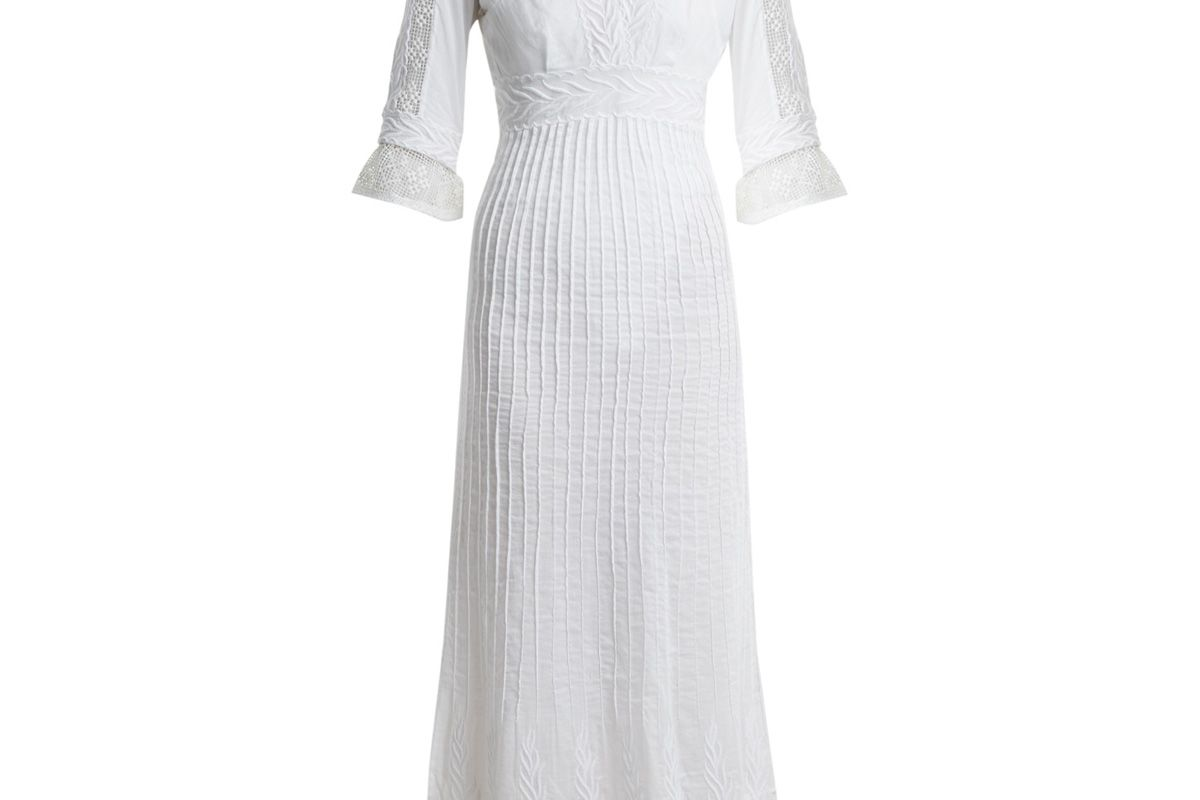 talitha edwardian floral embroidered cotton dress