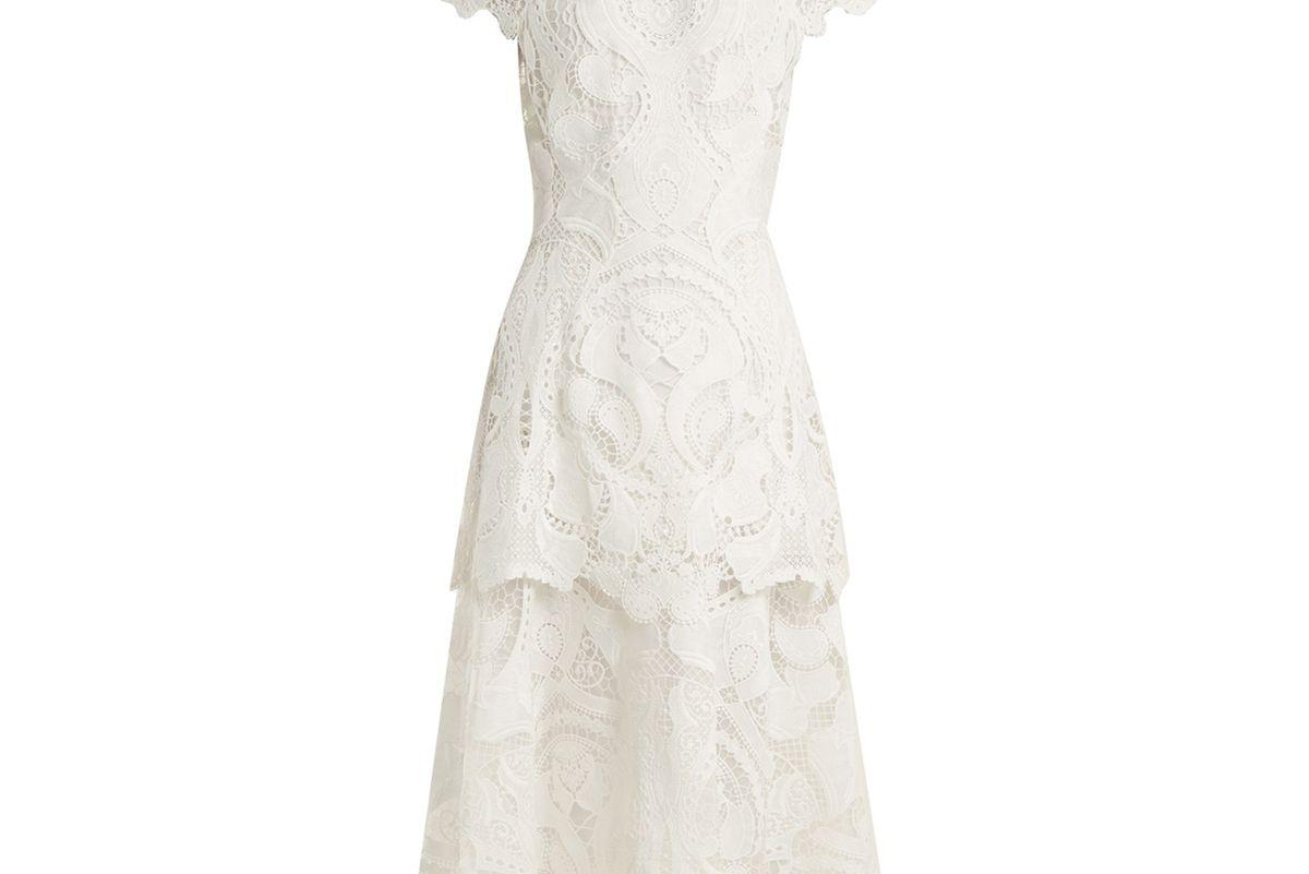 jonathan simkhai tiered scallop edged guipure lace dress