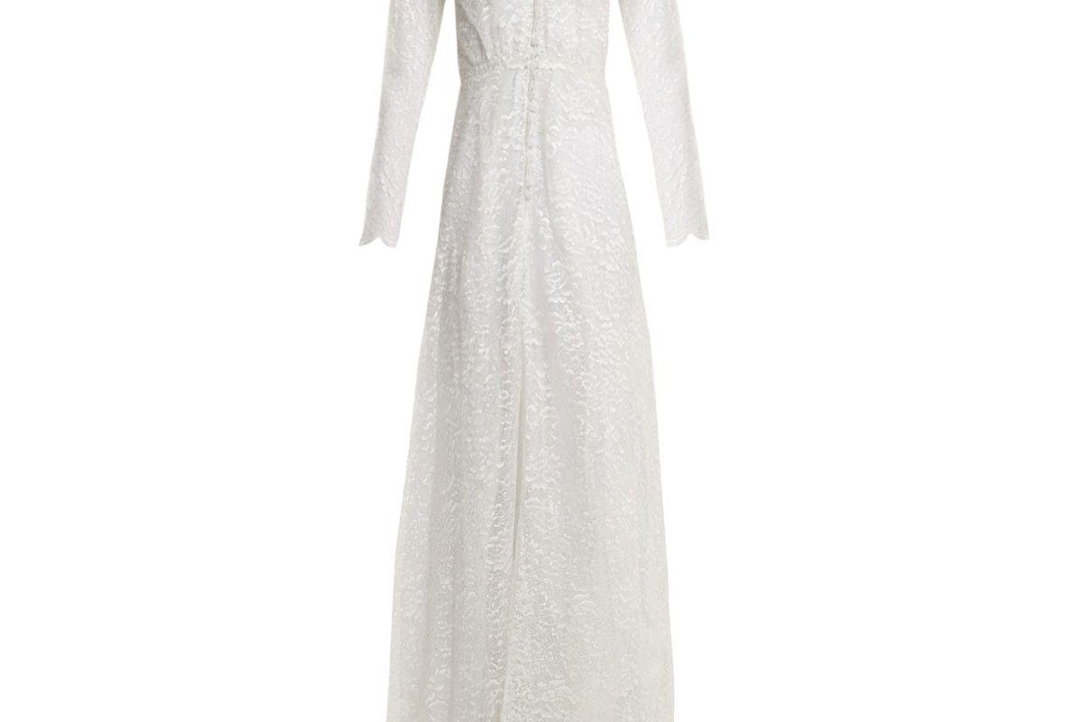 luisa beccaria v neck floral lace gown