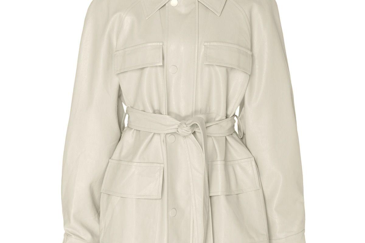 apparis tina belted vegan leather jacket