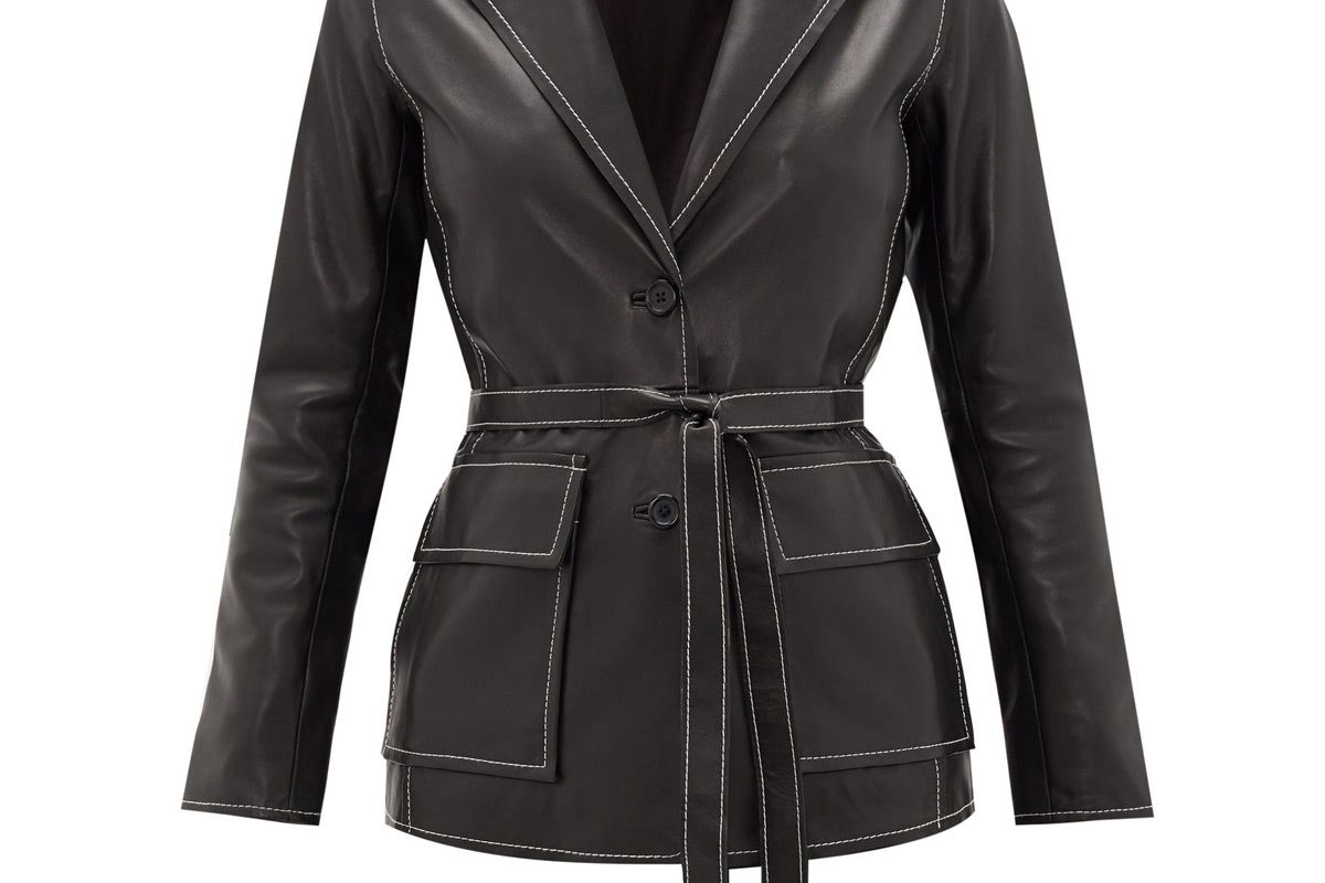 stand studio ariana belted topstitched leather jacket