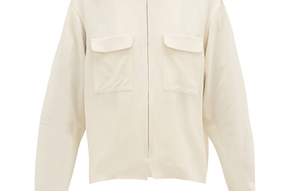 lemarie flap pocket crepe jacket