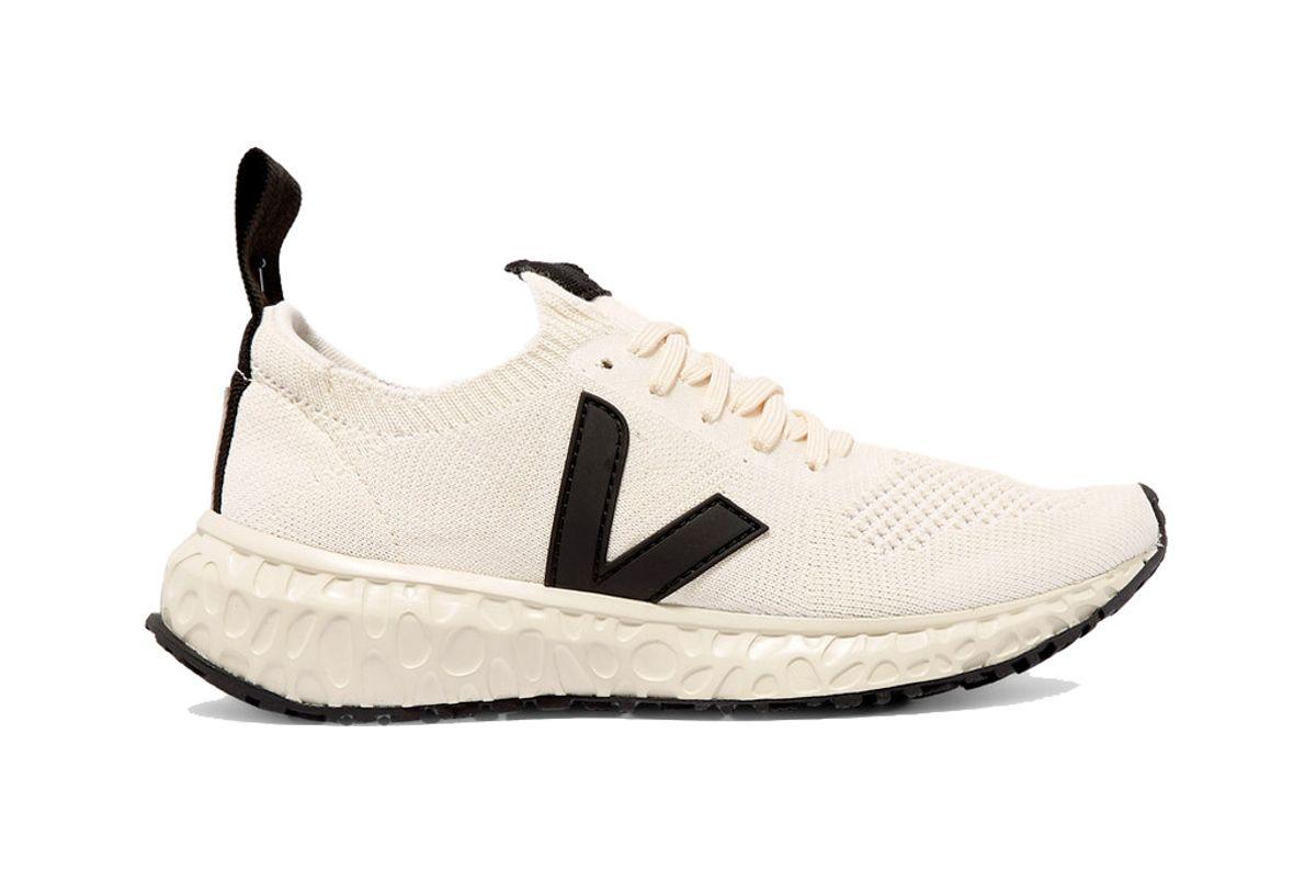 rick owens veja vegan leather trimmed v knit sneakers