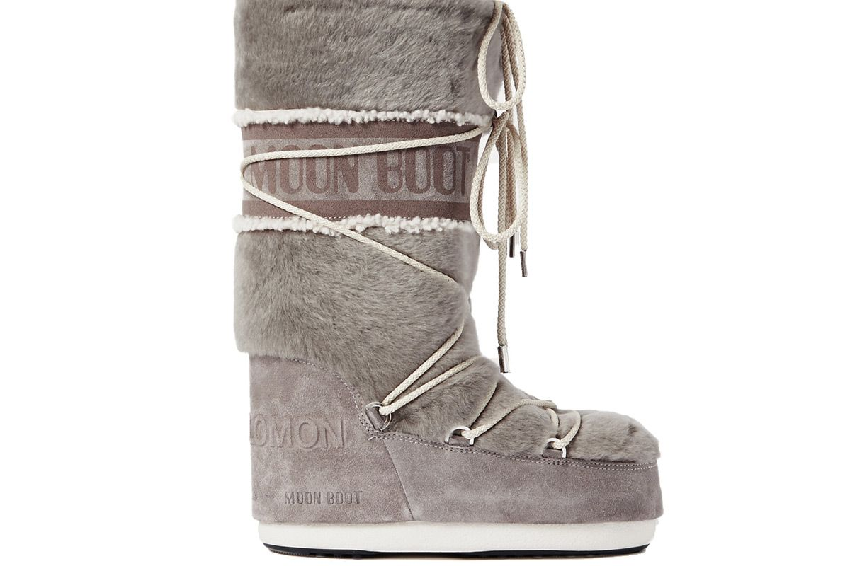 yves salomon x moon boot shearling and suede snow boots