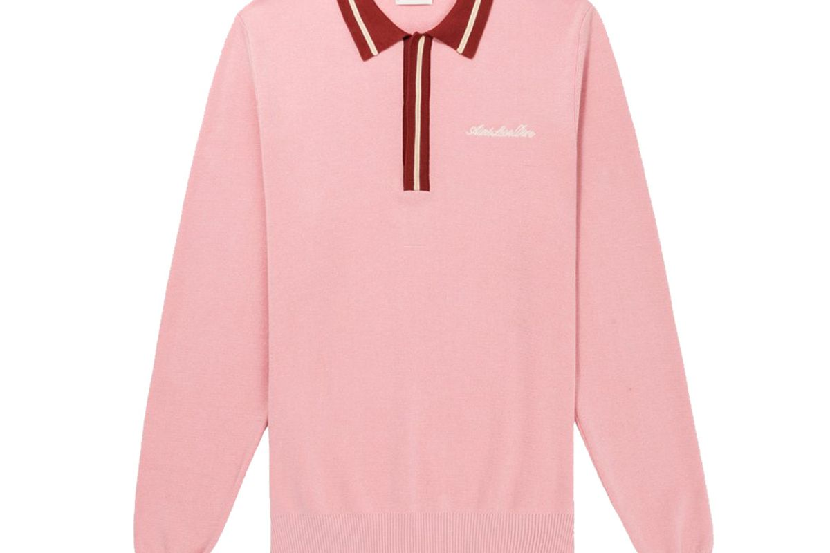 aime leon dore sweater knit polo pink