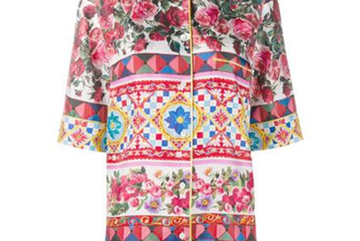 Printed Silk Pajamas Blouse