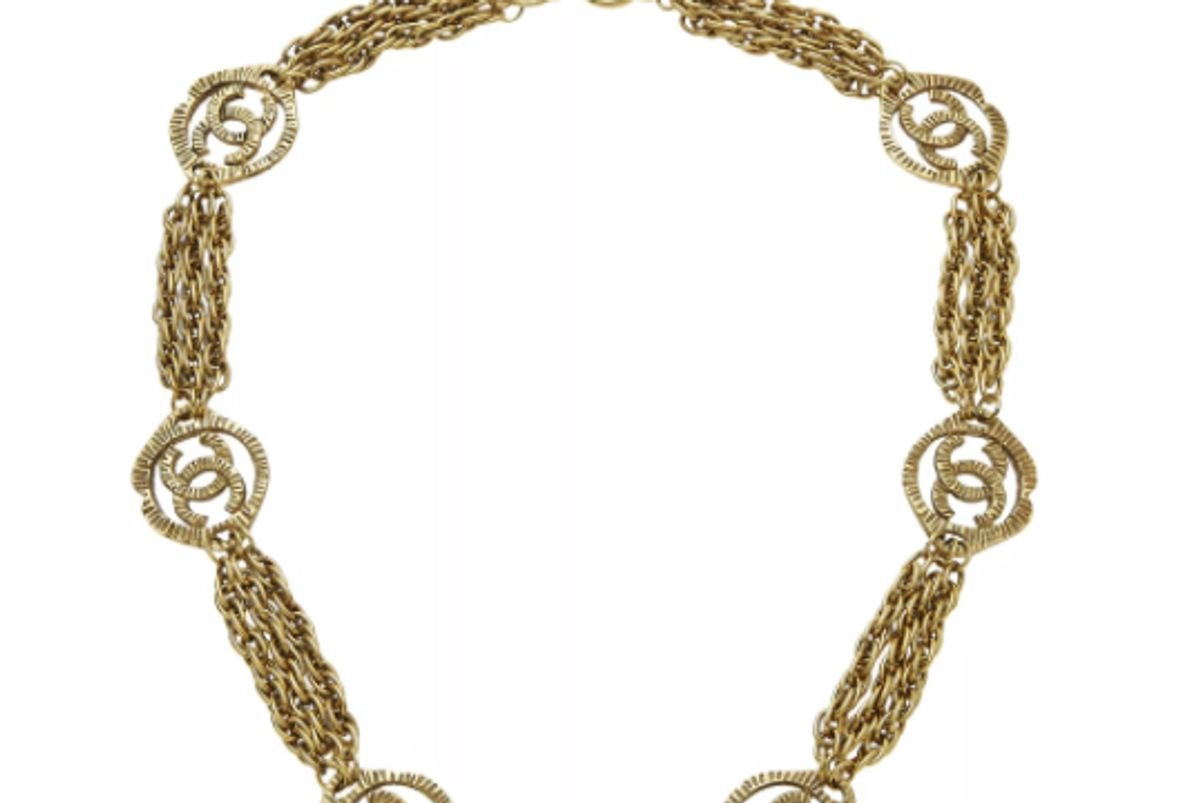 chanel gold ridged cc chain necklace