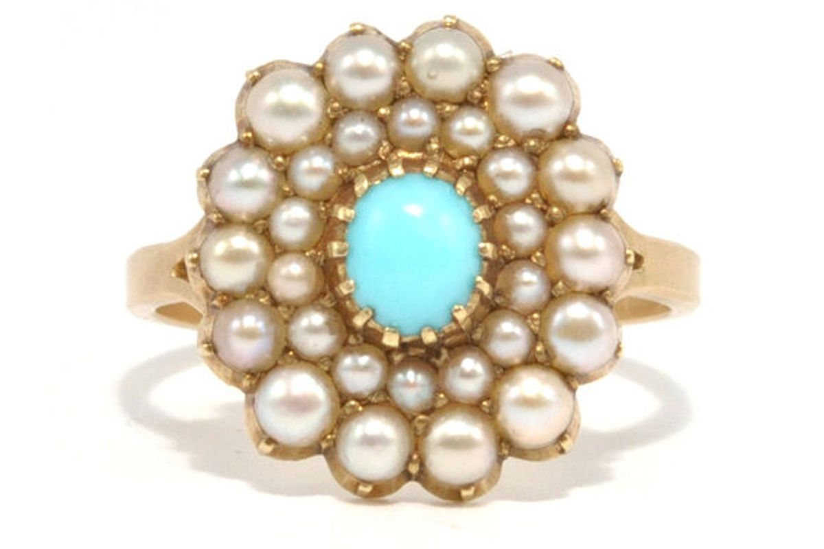 ashley zhang turquoise and split pearl ring