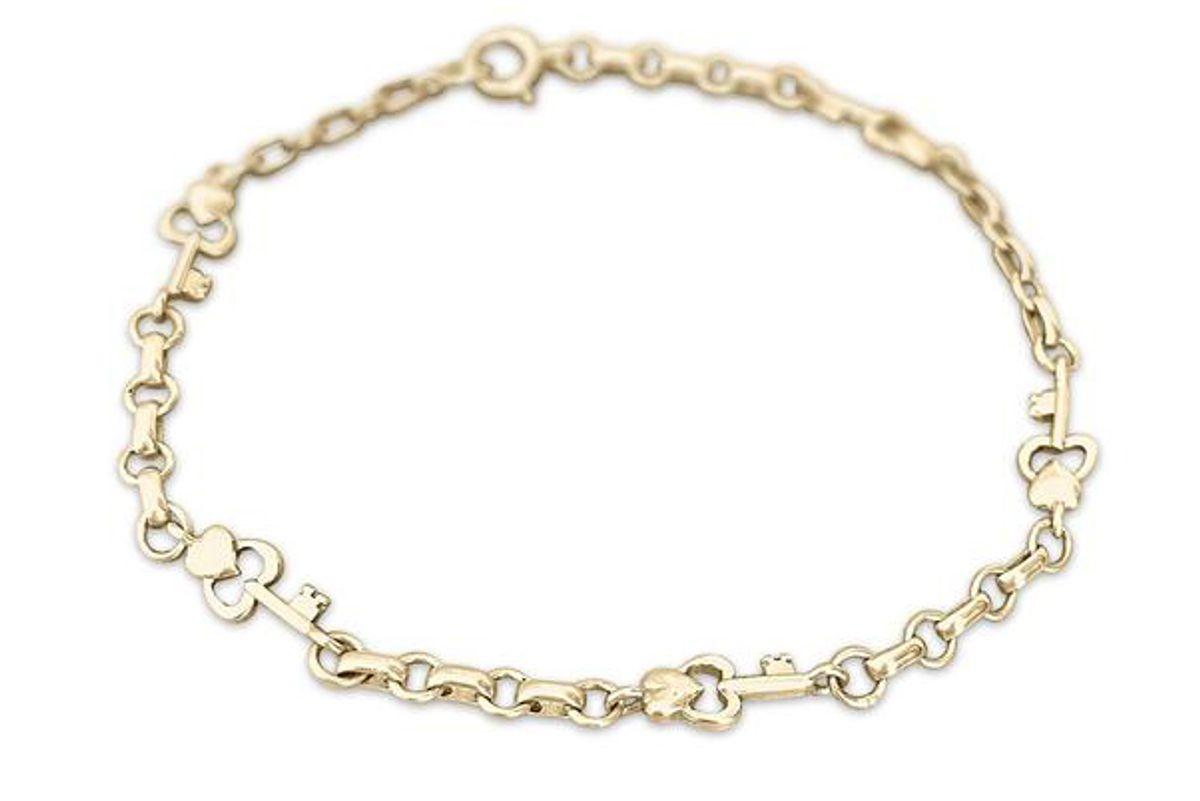 fewer finer vintage heart and key charm bracelet