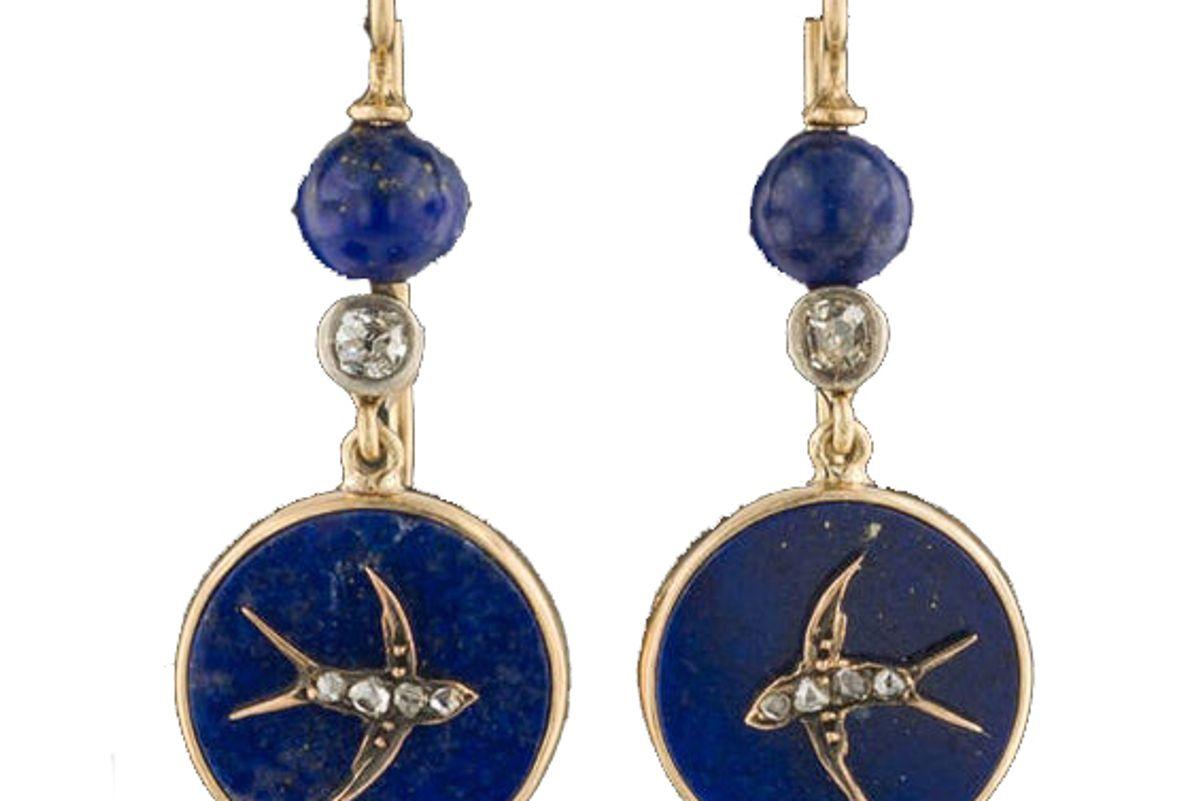 trademarkantiques antique lapis swallow earrings