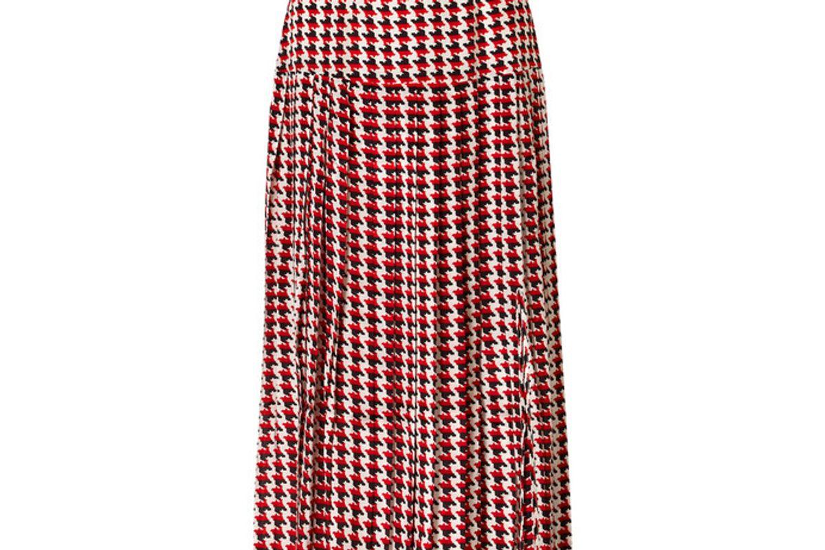 rixo tina pleated houndstooth silk crepe de chine midi skirt