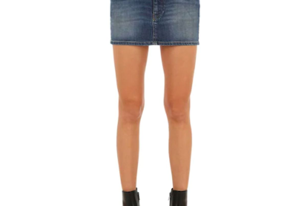 diesel mid rise cotton denim mini skirt