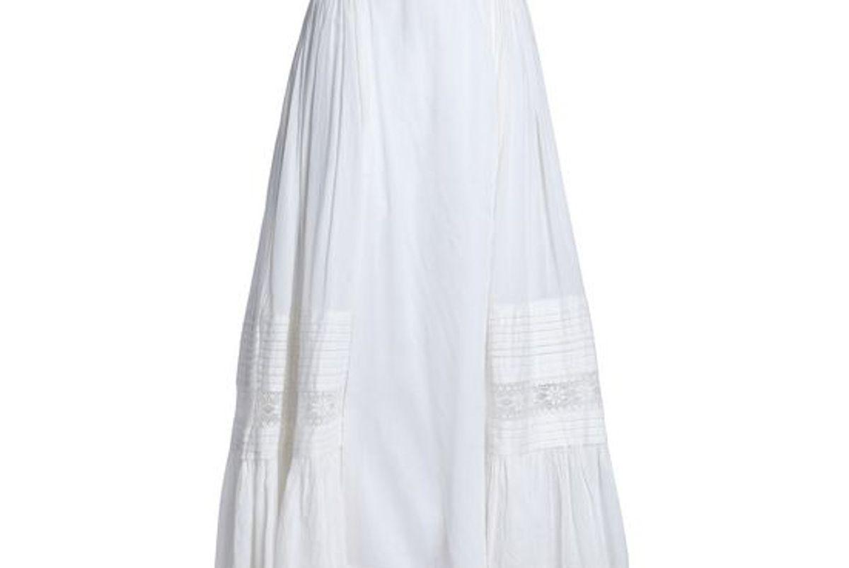 antik batik lace trimmed cotton midi skirt