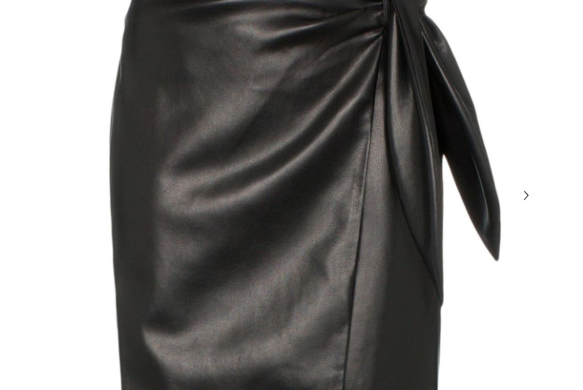 nanushka iowa tie waist vegan leather mini skirt