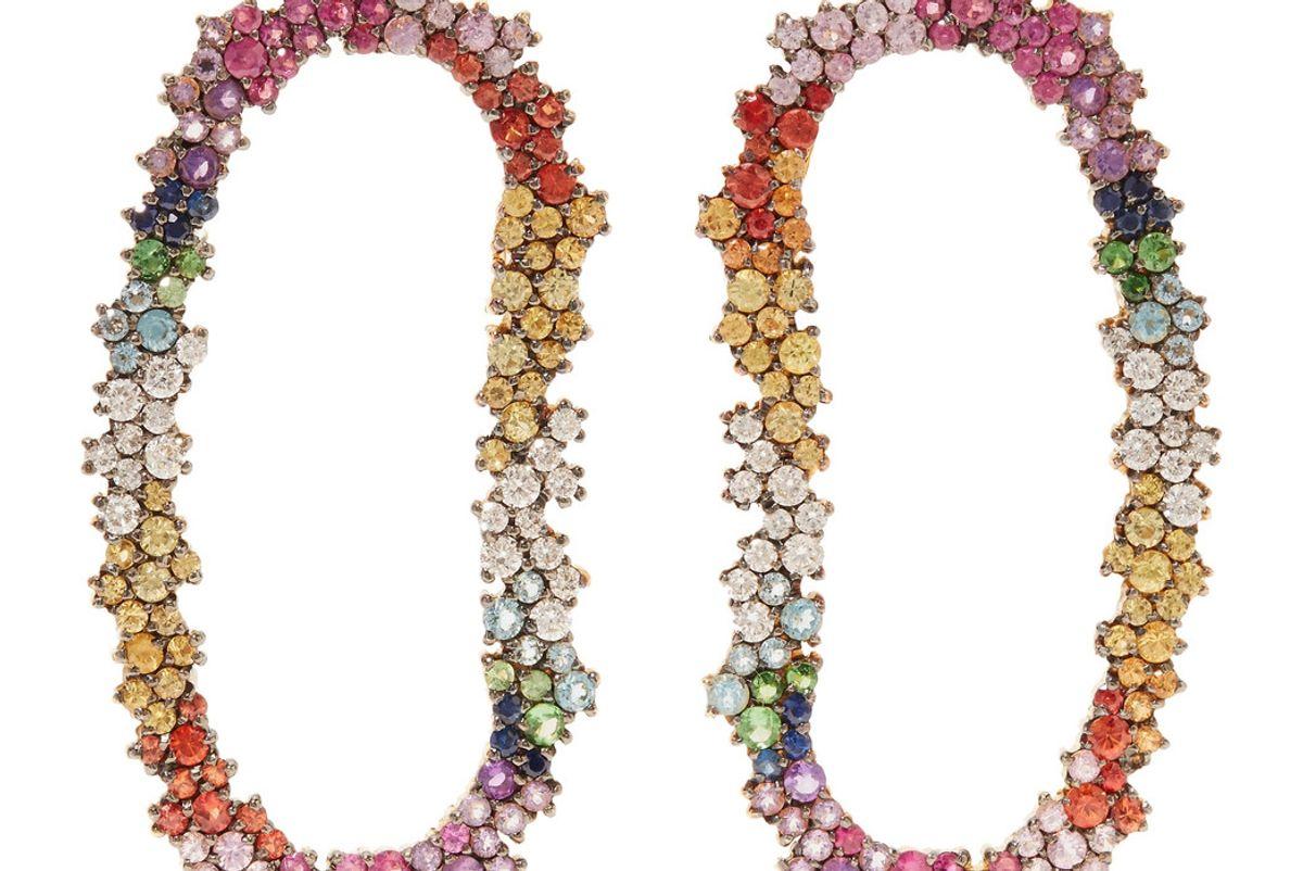 Mia 18-Karat Gold Diamond, Sapphire and Tourmaline Earrings