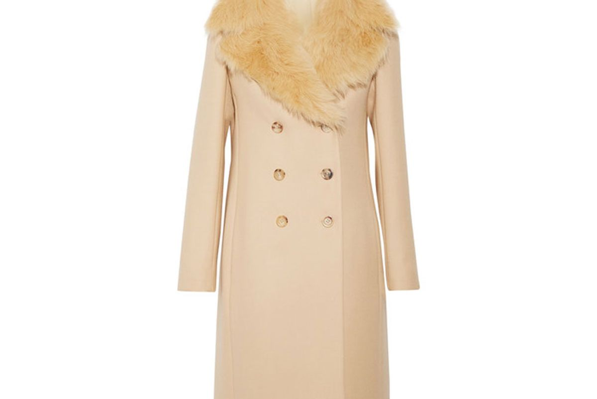 Roza Shearling-Trimmed Double-Breasted Wool-Twill Coat