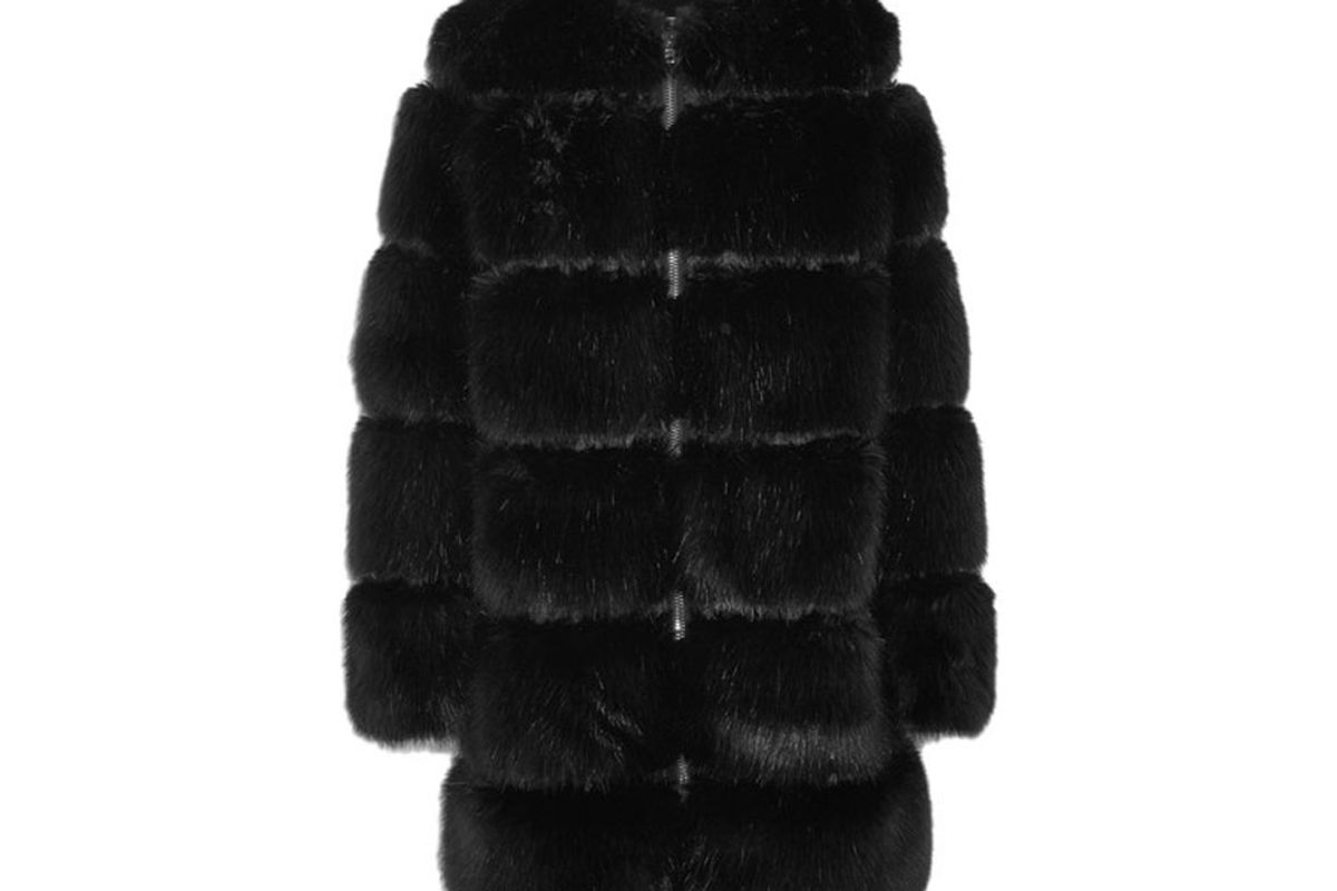 Mesh-Trimmed Faux Fur Coat