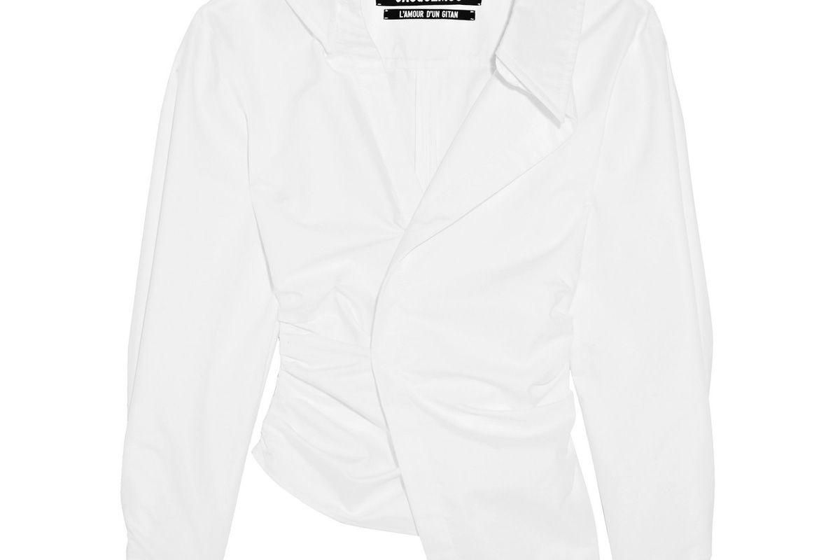 jacquemus la chemise elie asymmetric cotton poplin shirt