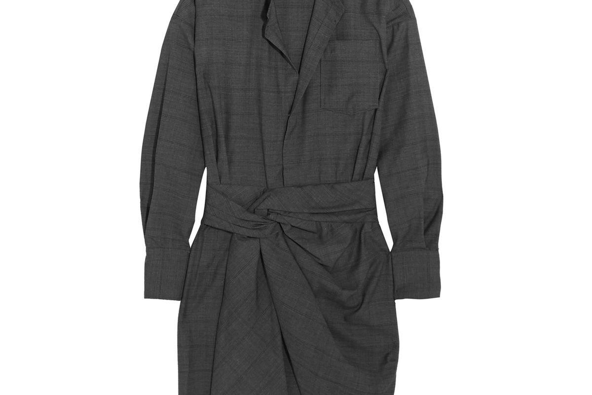 isabel marant etoile nolla knotted plaid wool mini dress