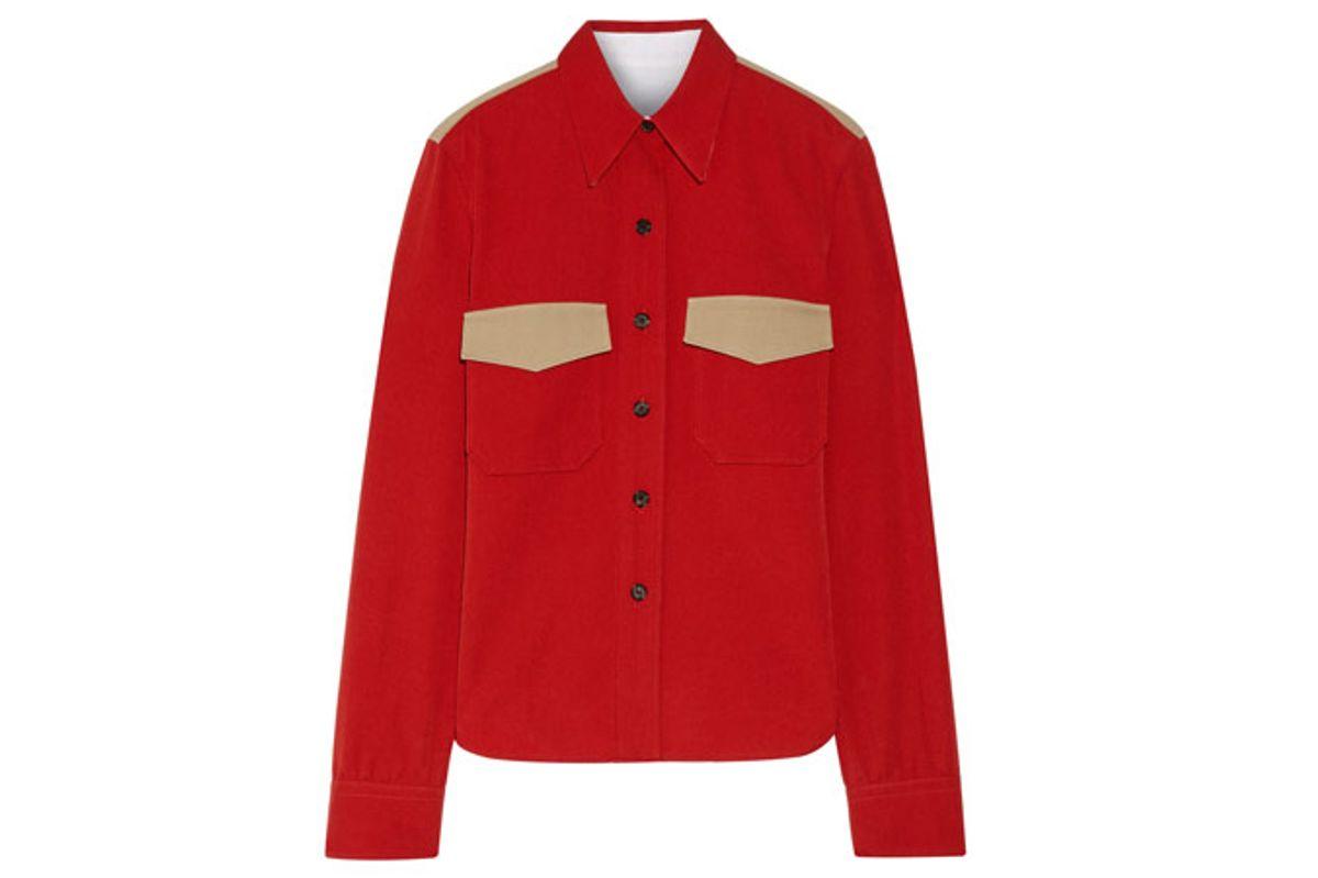 Two-Tone Wool-Twill Shirt