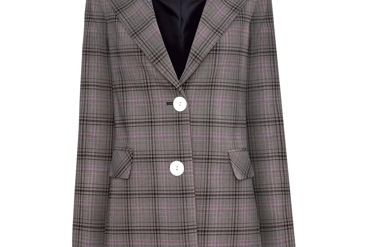 Chelsea Grey Plaid Button Blazer