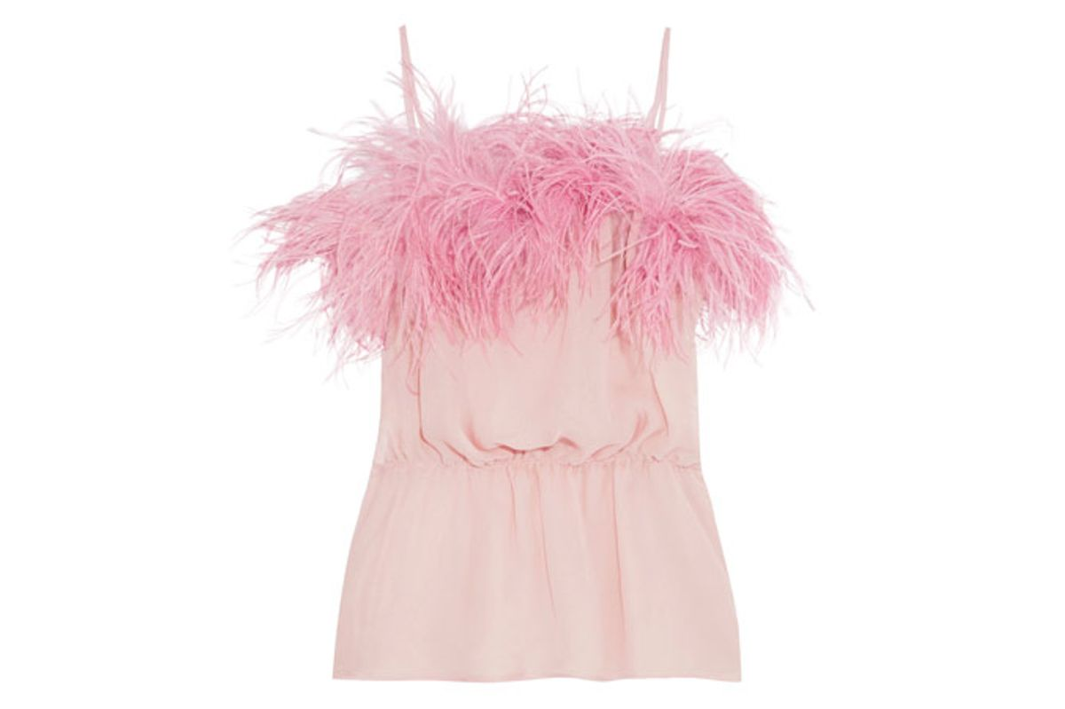 Feather-Trimmed Crinkled Silk-Chiffon Camisole