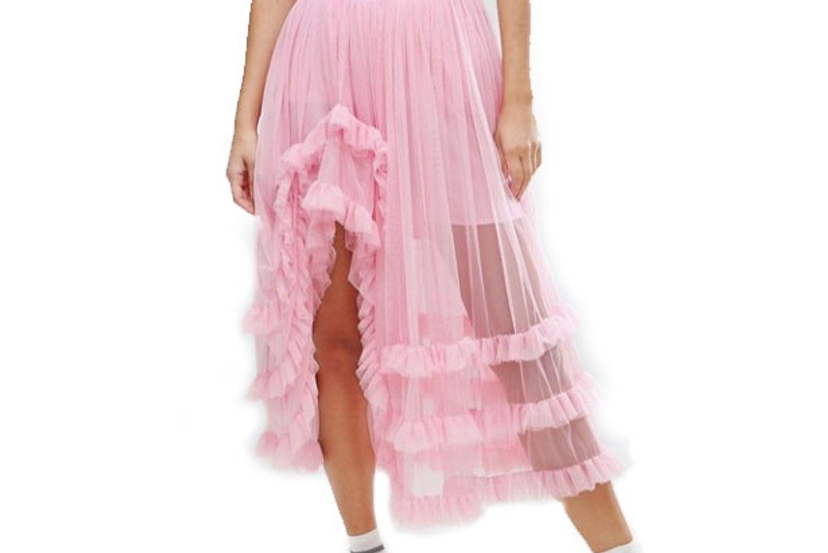 Deconstructed Sheer Tulle Prom Skirt