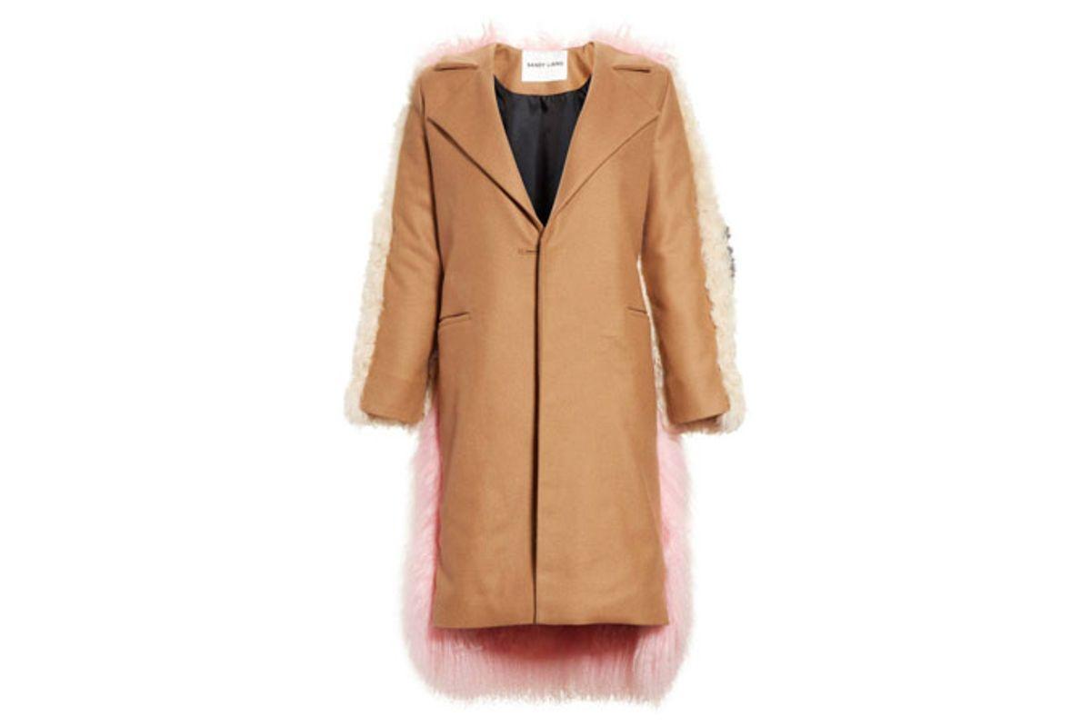 Mingo Wool Blend & Genuine Shearling Coat