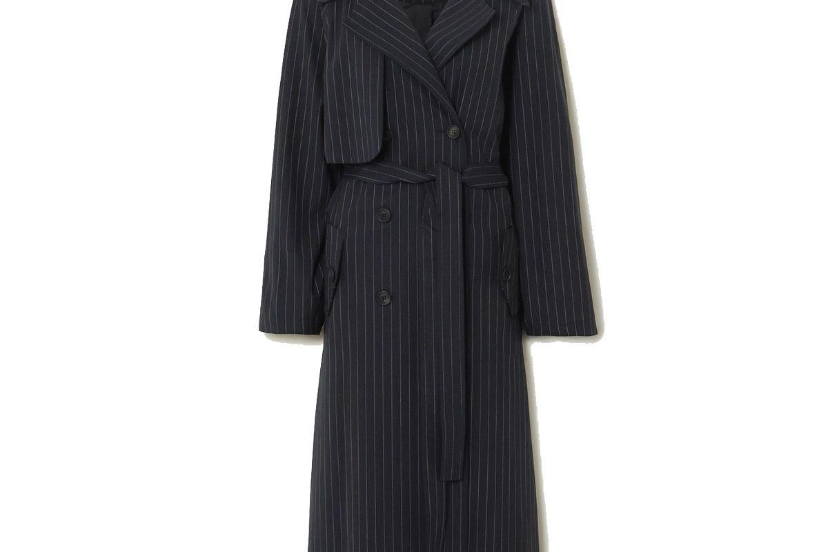 gauge81 nairobi pinstriped wool blend trench coat