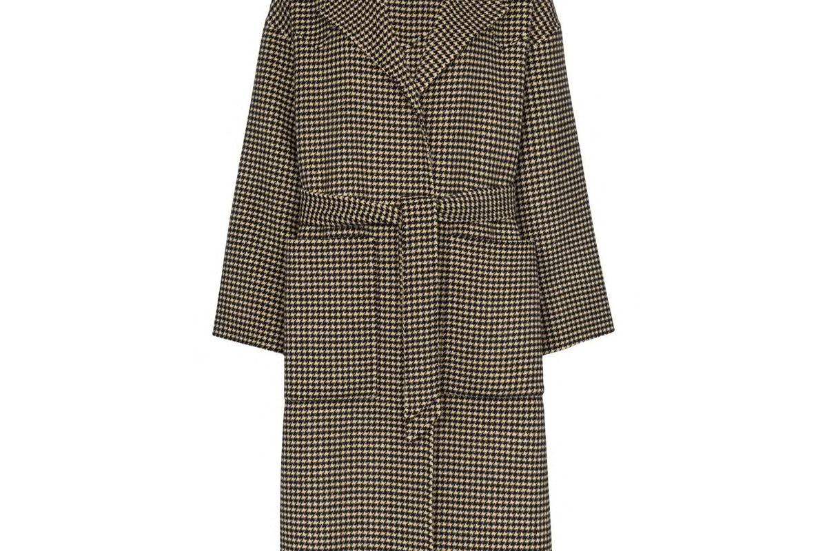 nanushka houndstooth belted trench coat