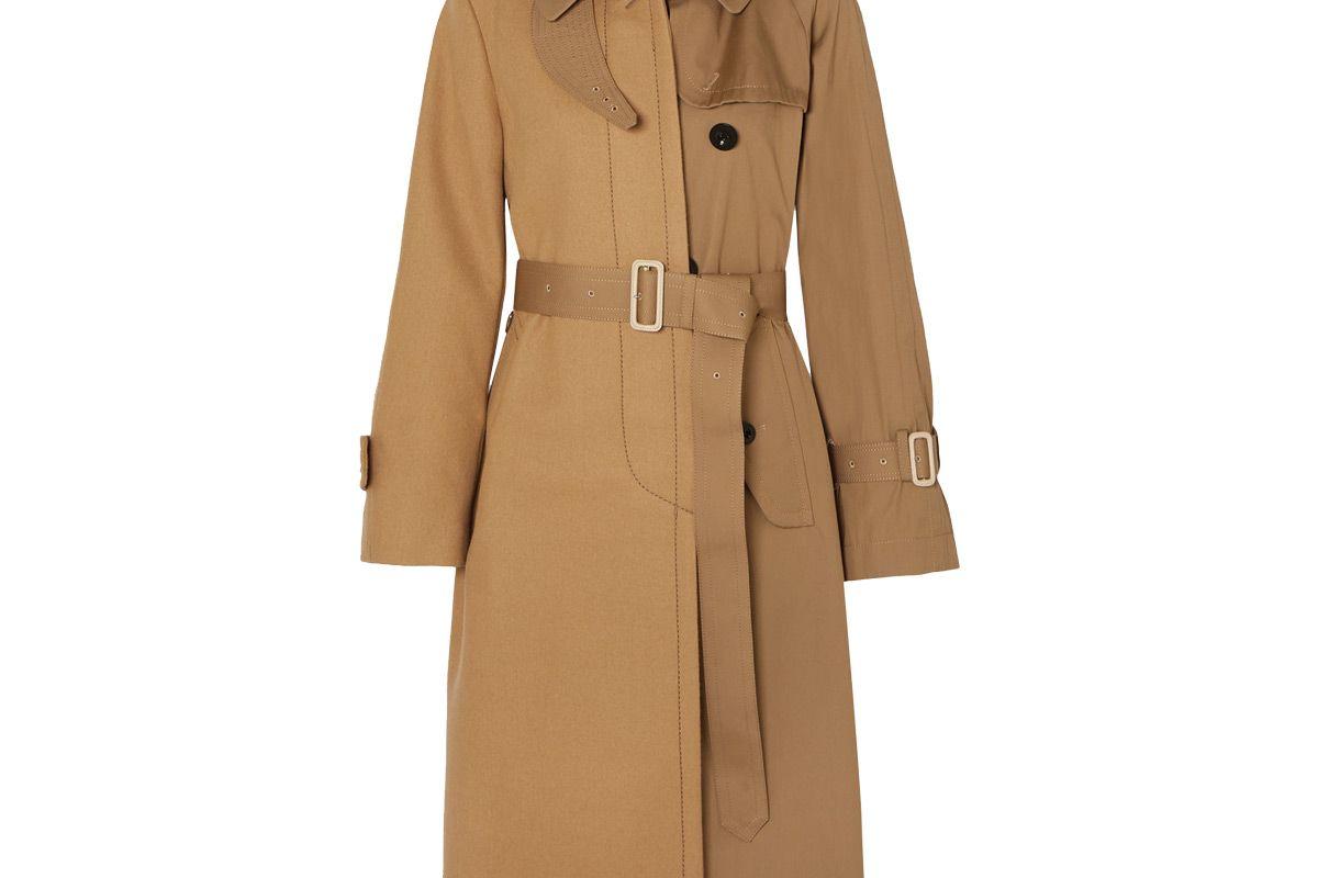 sacai melton wool and cotton gabardine trench coat