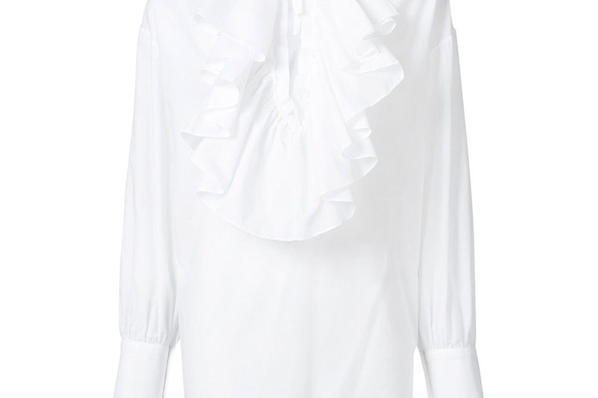 WSP Ruffle Peasant Top in White
