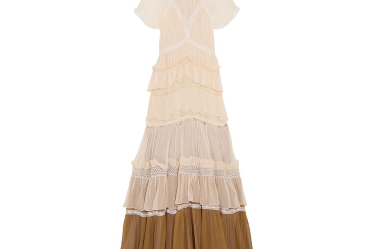 Tiered Lace-Trimmed Silk-Crepon Gown