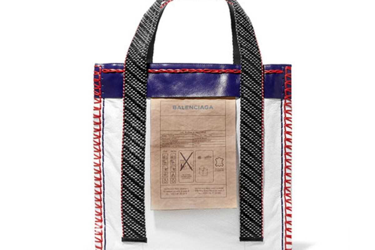 Scaffold Whipstitched Paneled Textured-Leather Tote