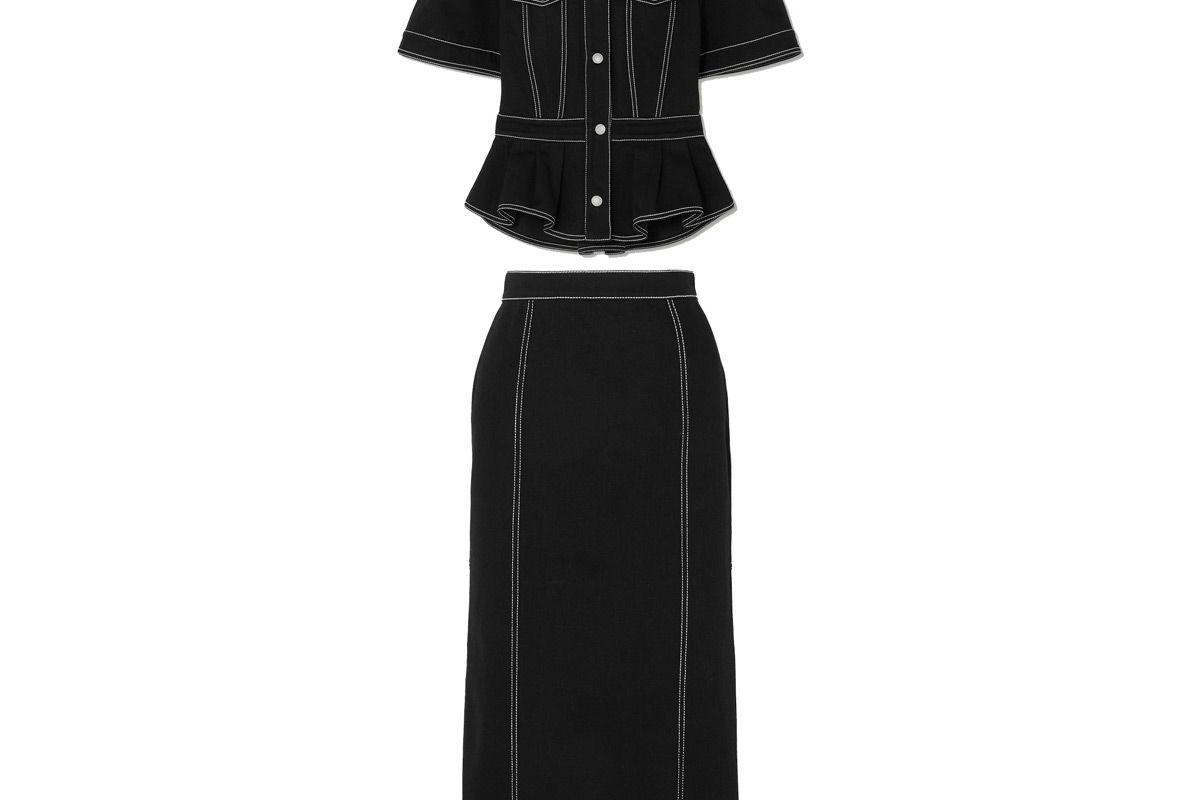alexander mcqueen denim shirt and pleated denim midi skirt