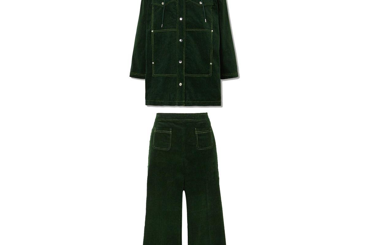 alexachung cotton corduroy hooded jacket and cotton corduroy straight leg pants