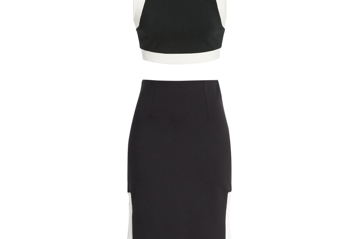 staud yin cropped two tone stretch knit top and staud yang ponte skirt