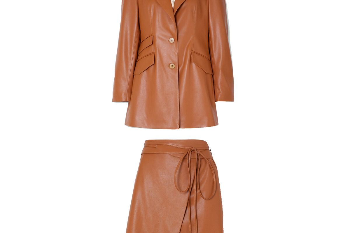 nanushka cancun vegan leather blazer and nanushka sekoya vegan leather wrap mini skirt