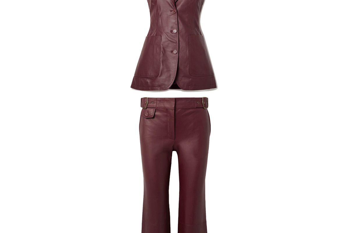 sies marjan leather vest and sies marjan belted cropped leather flared pants