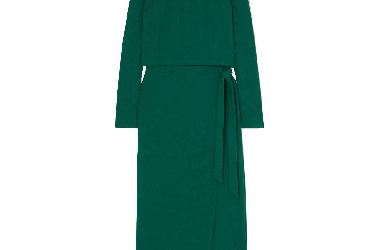 reformation vienna ribbed stretch lyocell top and wrap skirt set