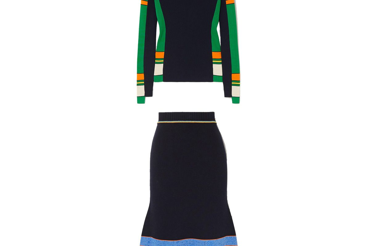 victoria beckham striped ribbed cotton blend sweater and victoria beckham striped ribbed cotton blend midi skirt