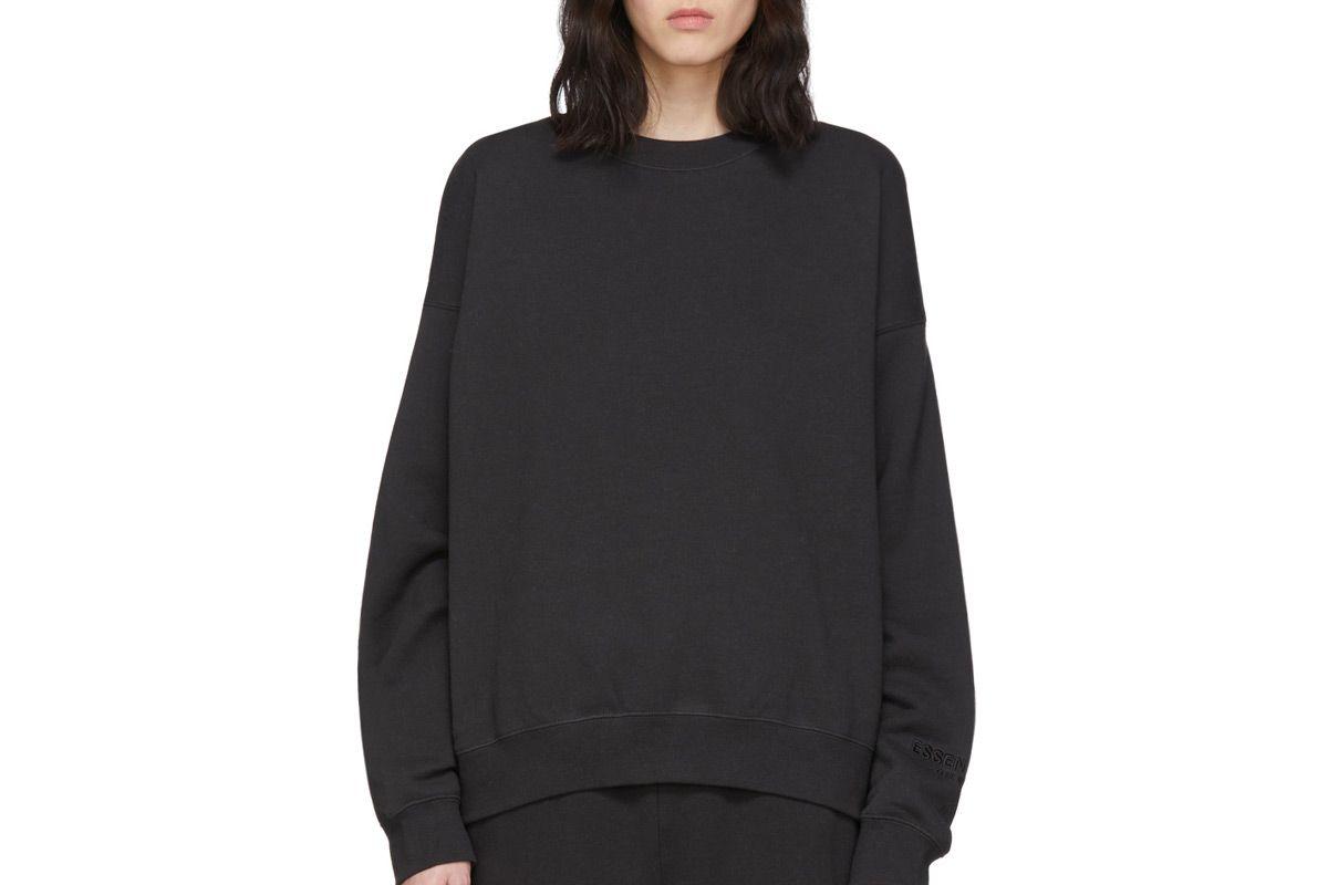 essentials black fleece reflective sweatshirt
