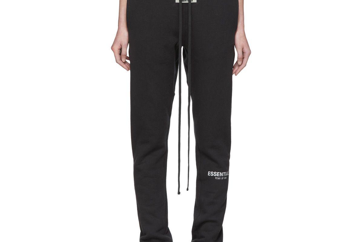 essentials black fleece reflective pants