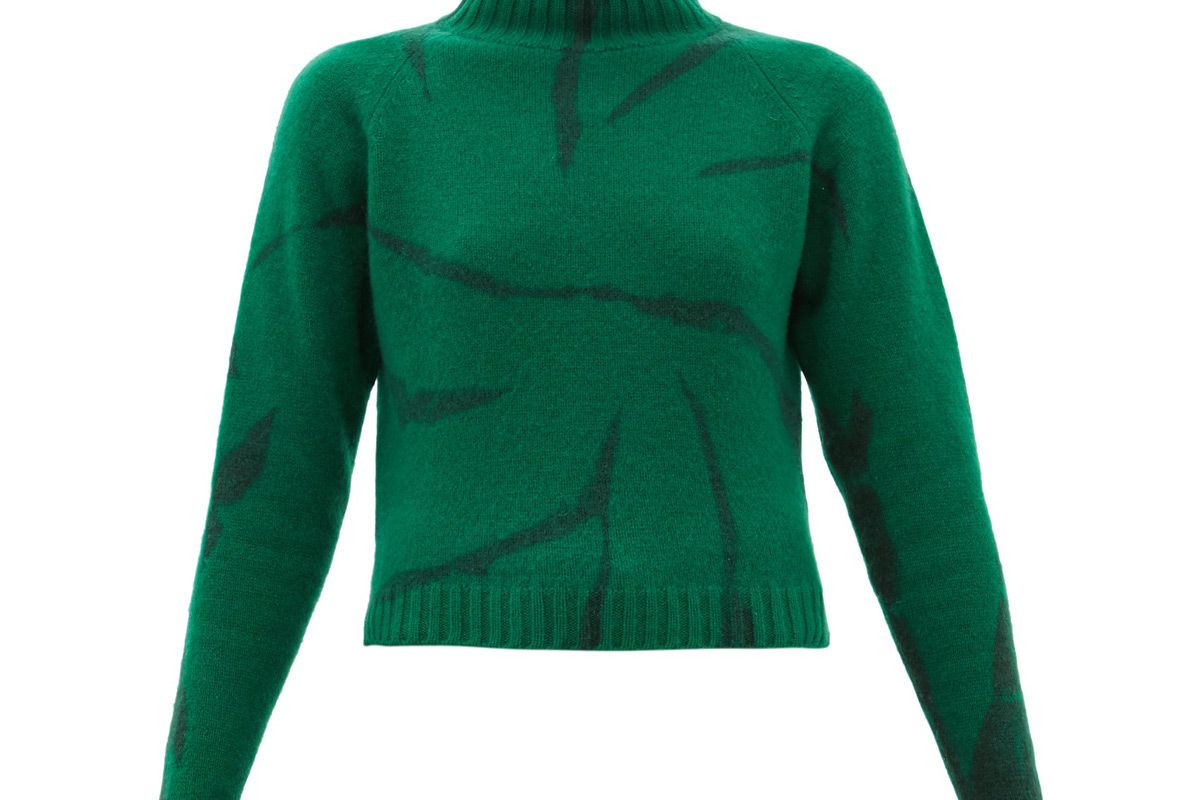 the elder statesman lightning cropped tie dyed cashmere sweater