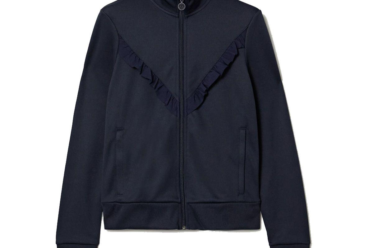 tory sport ruffled stretch knit track jacket