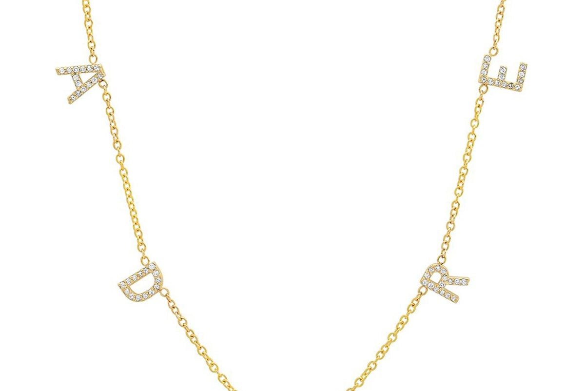 bychari the original diamond spaced letter necklace