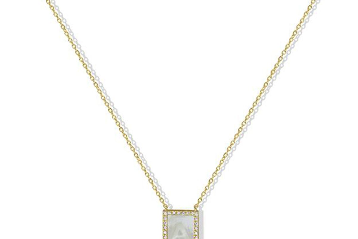 argento vivo the mother of pearl initial pendant