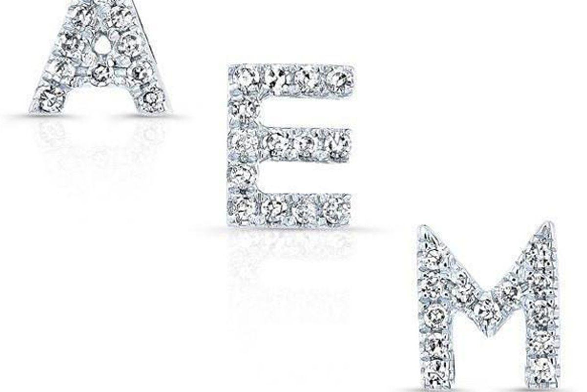 anne sisteron 14kt white gold diamond initial stud earring