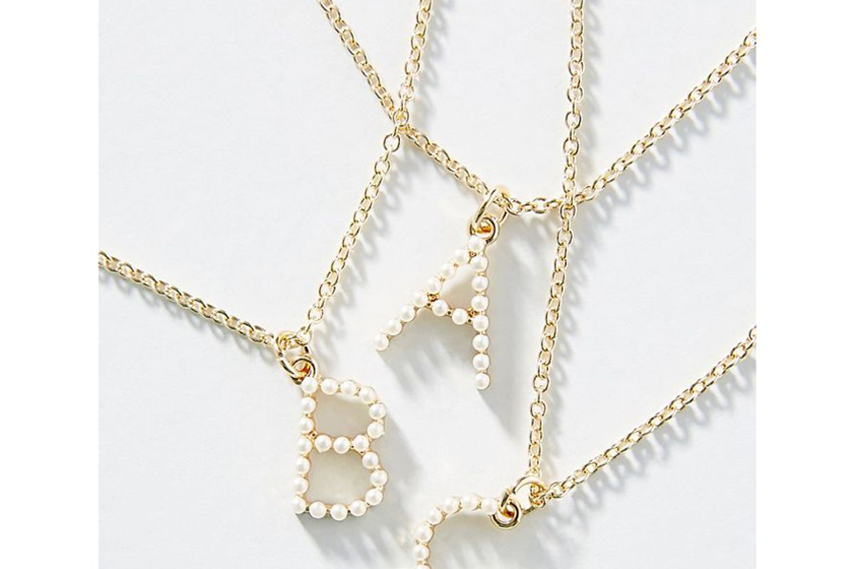 anthropologie petite monogram necklace